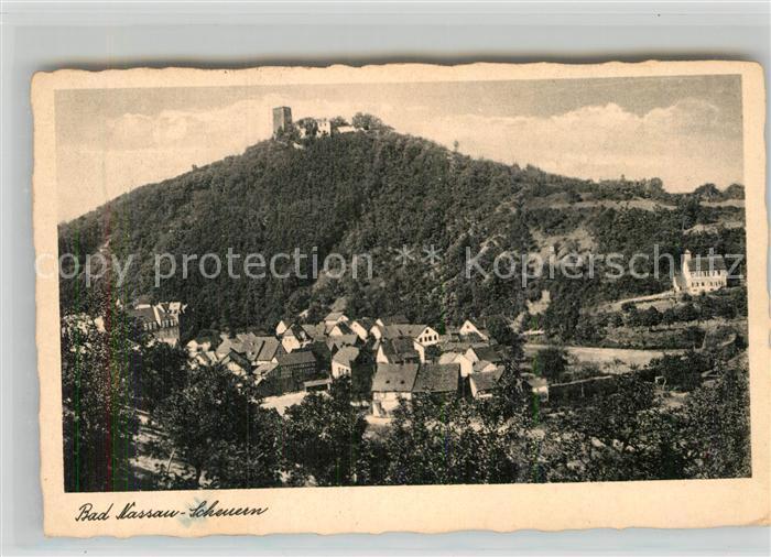 AK / Ansichtskarte Scheuern Nassau Lahn Panorama Burgberg Kat. Nassau