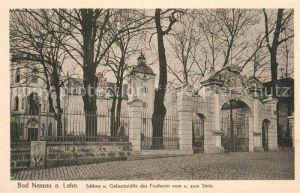 AK / Ansichtskarte Bad Nassau Schloss und Geburtsstaette des Freiherren vom und zum Stein Kat. Nassau Lahn