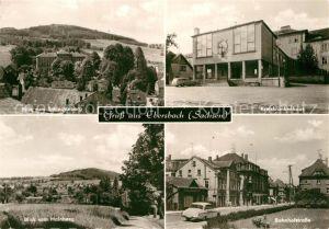 AK / Ansichtskarte Ebersbach Sachsen Blick zum Schlechteberg Kreiskrankenhaus Bahnhofstrasse Blick vom Hainberg Kat. Ebersbach Sachsen