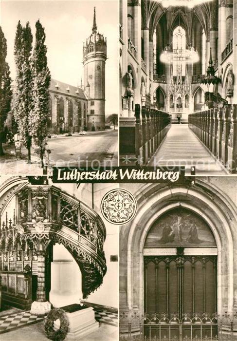 AK / Ansichtskarte Wittenberg Lutherstadt Schlosskirche Thesentuer Luthers Grab  Kat. Wittenberg