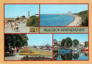 AK / Ansichtskarte Warnemuende Ostseebad Strandpromenade Teepott Leuchtturm Strand Alter Strom Fischkutter Kat. Rostock