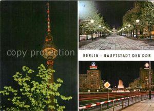AK / Ansichtskarte Berlin Fernsehturm Brandenburger Tor Strausberger Platz Hauptstadt der DDR Nachtaufnahmen Kat. Berlin