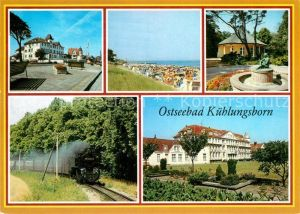 AK / Ansichtskarte Kuehlungsborn Ostseebad FDGB Erholungsheim Strand Konzertgarten Schmalspurbahn Technisches Denkmal Kat. Kuehlungsborn