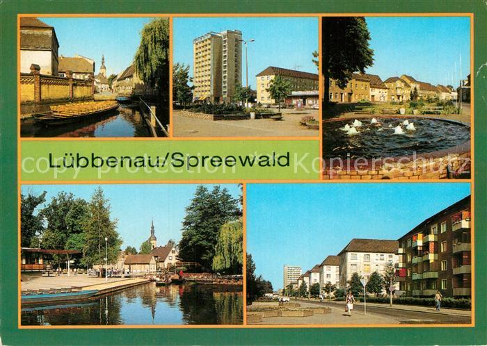 AK / Ansichtskarte Luebbenau Spreewald Hafeneck Roter Platz Markt Spreewaldhafen der Freundschaft Strasse der Jugend Kat. Luebbenau
