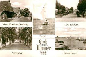 AK / Ansichtskarte Duemmersee Diepholz Altes Gasthaus Sandring Birkenallee Segler Cafe Seeblick Bootsanleger