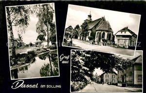 AK / Ansichtskarte Dassel Solling Partie am Wasser Kirche Strassenpartie Kat. Dassel