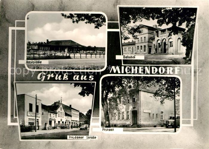 AK / Ansichtskarte Michendorf Raststaette Bahnhof Postamt Postdamer Strasse Kat. Michendorf