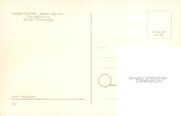 AK / Ansichtskarte Leuna Leuna Werke Walter Ulbricht Feierabendhaus Grosser Theatersaal Kat. Leuna 1