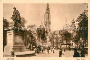 AK / Ansichtskarte Anvers Antwerpen Place Verte Monument Statue Kat.