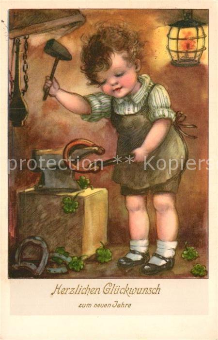 AK / Ansichtskarte Neujahr Kind Schmied Hufeisen Hammer Kleeblatt  Kat. Greetings