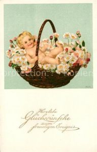 AK / Ansichtskarte Geburt Glueckwunsch Baby Blumen  Kat. Greetings