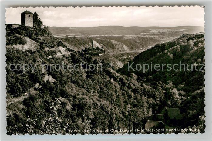 AK / Ansichtskarte Kobern Gondorf Oberburg mit Matthiaskapelle und Niederburg Kat. Kobern Gondorf