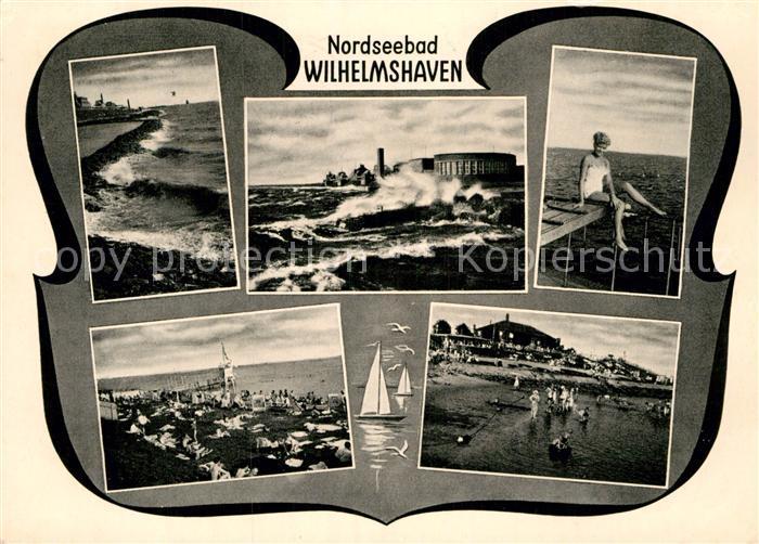 AK / Ansichtskarte Wilhelmshaven Strandhalle bei Sturmflut Suedstrand Badesteg Kat. Wilhelmshaven