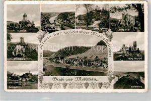 AK / Ansichtskarte Moselkern mit den Burgen Cochem Bischofstein Pyrmont Eltz Ehrenburg Thurant Beilstein Marienburg Kat. Moselkern