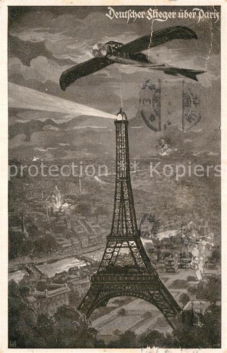 AK / Ansichtskarte Paris Deutscher Flieger ueber Paris  Kat. Paris