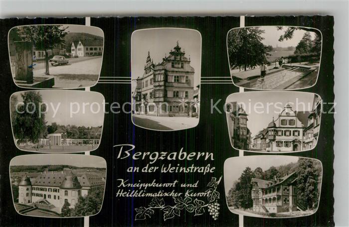 AK / Ansichtskarte Bad Bergzabern Schloss Rathaus Schwimmbad Teilansichten Kat. Bad Bergzabern