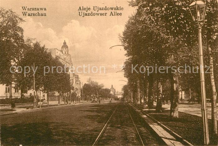 AK / Ansichtskarte Warschau Masowien Ujazdower Allee Kat. Warschau