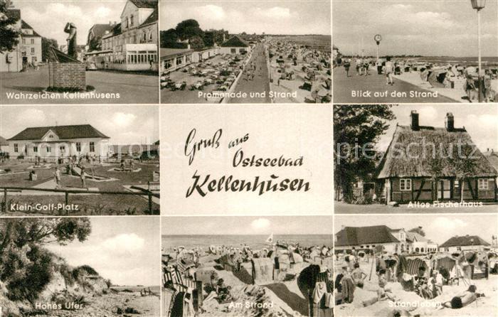 AK / Ansichtskarte Kellenhusen Ostseebad Denkmal Wahrzeichen Kleingolfplatz Hohes Ufer Promenade Strand Altes Fischerhaus Kupfertiefdruck Kat. Kellenhusen (Ostsee)