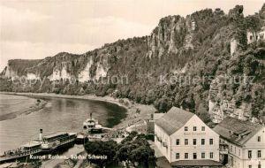 AK / Ansichtskarte Rathen Saechsische Schweiz Hotel Erbgericht Elbe Dampfer Felsen Kat. Rathen Sachsen