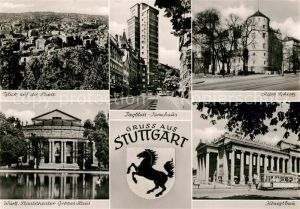 AK / Ansichtskarte Stuttgart Stadtpanorama Staatstheater Grosses Haus Tagblatt Turmhaus Altes Schloss Koenigsbau Wappen Kat. Stuttgart