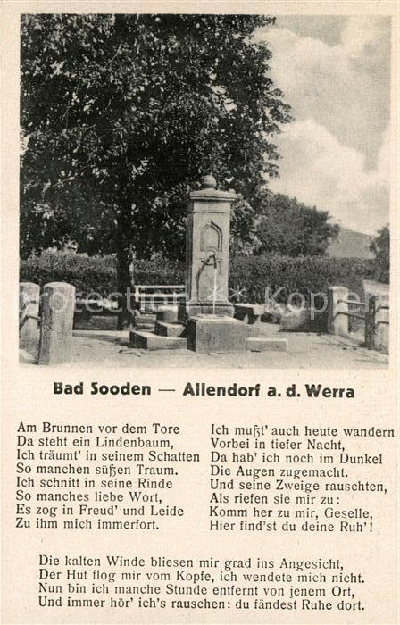 AK / Ansichtskarte Bad Sooden Allendorf Zimmersbrunnen Volkslied Am Brunnen vor dem Tore Kat. Bad Sooden Allendorf