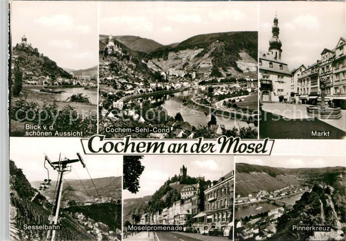 AK / Ansichtskarte Cochem Mosel Moselanlagen Markt Brueckenblick Pinnerkreuz Moselpromenade Sesselbahn Kat. Cochem