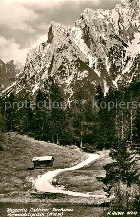 AK / Ansichtskarte Lautersee Mittenwald mit Karwendelspitzen Kat. Mittenwald