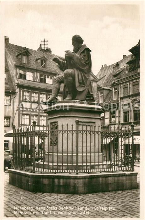 AK / Ansichtskarte Nuernberg Hans Sachs Denkmal Spitalplatz  Kat. Nuernberg