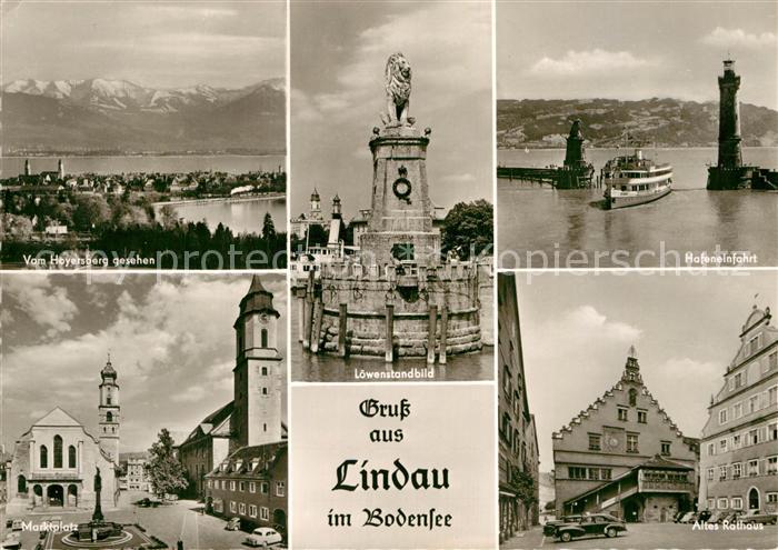 AK / Ansichtskarte Lindau Bodensee Panorama vom Hoyersberg gesehen Marktplatz Loewenstandbild Hafeneinfahrt Altes Rathaus Kat. Lindau (Bodensee)