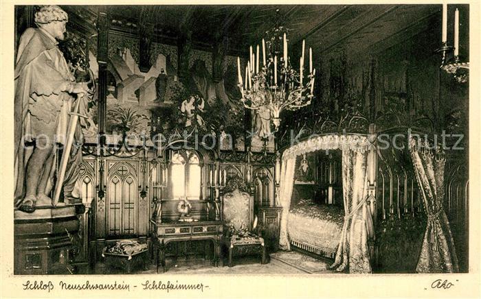 AK / Ansichtskarte Fuessen Allgaeu Schloss Neuschwanstein Schlafzimmer Kat.  Fuessen