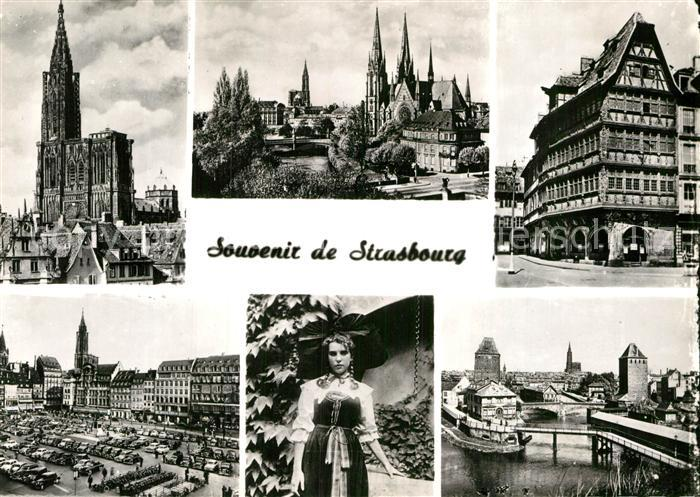 AK / Ansichtskarte Strasbourg Alsace Cathedrale Eglise St Paul Maison Kammerzell Place Kleber Ponts couverts Kat. Strasbourg