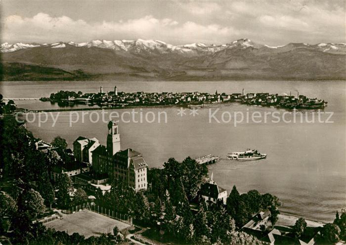 AK / Ansichtskarte Bad Schachen Lindau Hotel am See Faehre Halbinsel Alpenkette Fliegeraufnahme Kat. Lindau (Bodensee)