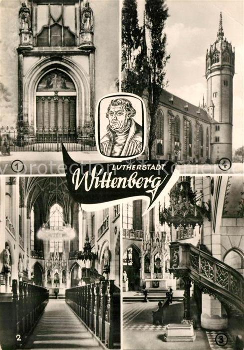 AK / Ansichtskarte Wittenberg Lutherstadt Thesentuer Schlosskirche Luthers Grab Kat. Wittenberg