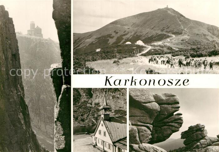 AK / Ansichtskarte Karkonosze Schronisko PTTK nad Snieznymi Kotlami Berghotel Wandern Felsen Riesengebirge Kat. Polen