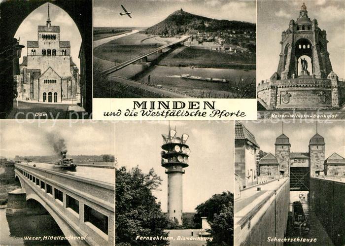 AK / Ansichtskarte Minden Westfalen Dom Kaiser Wilhelm Denkmal Weser Mittellandkanal Fernsehturm Schachtschleuse Kat. Minden