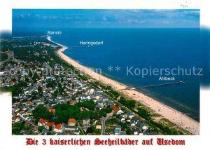 AK / Ansichtskarte Ahlbeck Ostseebad Heringsdorf Bansin Fliegeraufnahme Kat. Heringsdorf Insel Usedom