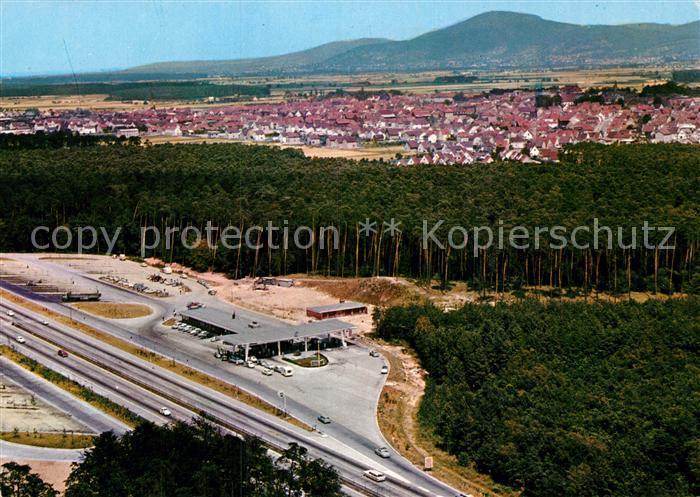 AK / Ansichtskarte Lorsch Hessen Autobahn Raststaette Fliegeraufnahme Kat. Lorsch