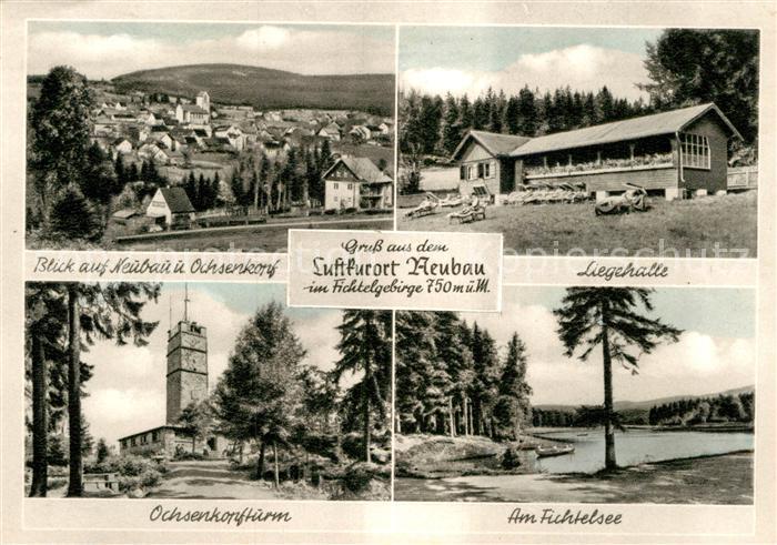AK / Ansichtskarte Neubau Fichtelberg Panorama mit Blick zum Ochsenkopf Aussichtsturm Fichtelsee Liegehalle Kupfertiefdruck Kat. Fichtelberg