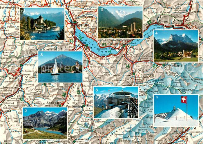 AK / Ansichtskarte Thun BE Thunersee und Umgebung Landkarte Sehenswuerdigkeiten der Region Kat. Thun
