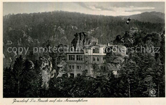 AK / Ansichtskarte Jonsdorf Baude auf dem Nonnenfelsen Kat. Kurort Jonsdorf