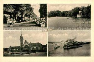 AK / Ansichtskarte Krefeld Hauptbahnhof Hafenpartie Ostwall Stadtwald Kat. Krefeld
