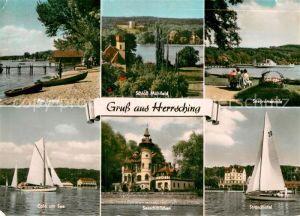 AK / Ansichtskarte Herrsching Ammersee Strand Schloss Muehlfeld Seepromenade Cafe am See Seeschloesschen Strandhotel Kat. Herrsching a.Ammersee