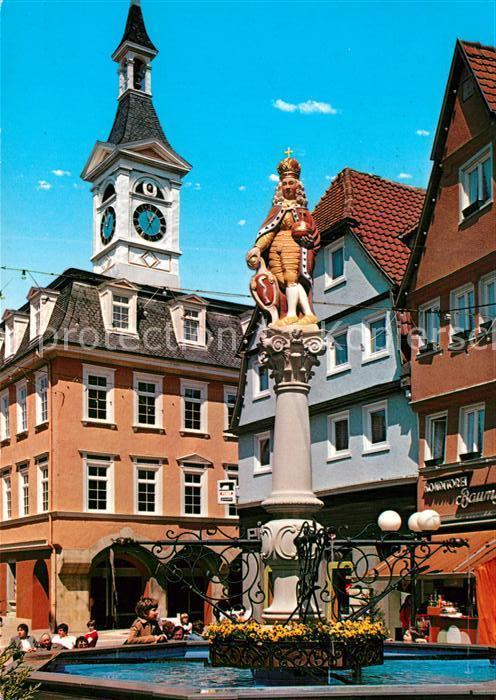 AK / Ansichtskarte Aalen Innenstadt Marktbrunnen mit Kaiser Josef I und altem Rathaus Kat. Aalen