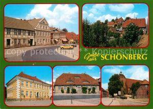 AK / Ansichtskarte Schoenberg Mecklenburg Teilansichten Haeuserpartie Gebaeude Kirche Kat. Schoenberg Mecklenburg