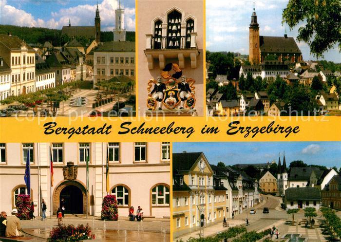 AK / Ansichtskarte Schneeberg Erzgebirge Teilansichten Bergstadt Kirche Glockenspiel Platz Kat. Schneeberg