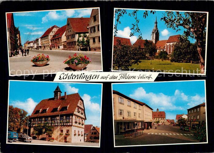 AK / Ansichtskarte Echterdingen Strassenpartie Kirche Rathaus Strassenpartie Kat. Leinfelden Echterdingen