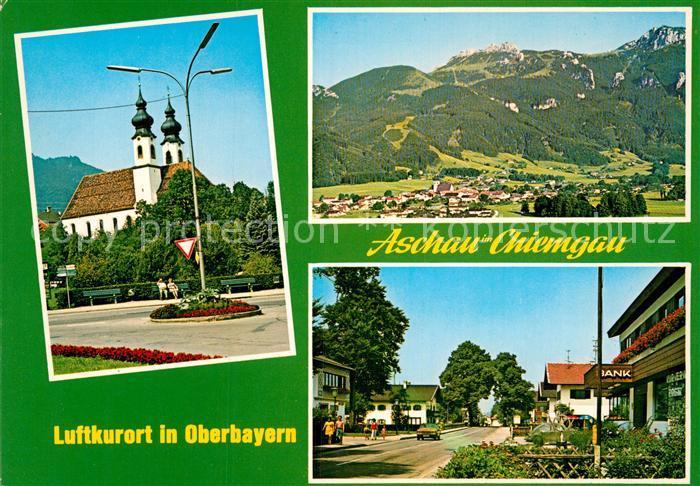 AK / Ansichtskarte Aschau Chiemgau Fliegeraufnahme Ortspartie Kirche Kat. Aschau i.Chiemgau