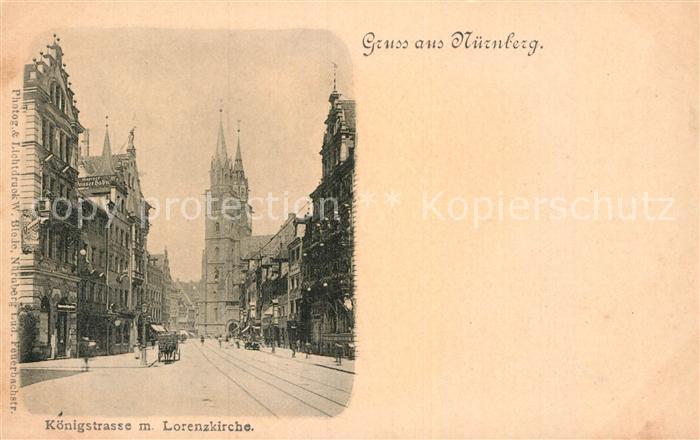 AK / Ansichtskarte Nuernberg Koenigstrasse Lorenzkirche  Kat. Nuernberg