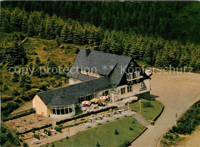 AK / Ansichtskarte Schulenberg Oberharz Fliegeraufnahme Cafe Hotel Gaststaette Tanneck Kat. Schulenberg im Oberharz