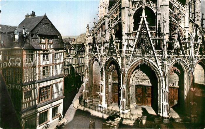 AK / Ansichtskarte Rouen Portail de Eglise Saint Maclou et Vieilles Maisons Kat. Rouen